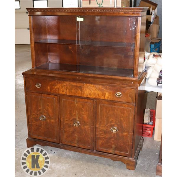 "WOOD ""KNECHTEL"" BUFFET WITH GLASS WINDOW UPPER"