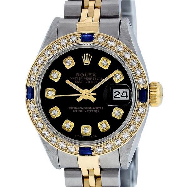 Rolex Ladies 2 Tone Black Diamond & Sapphire 26MM Oyster Datejust Wristwatch