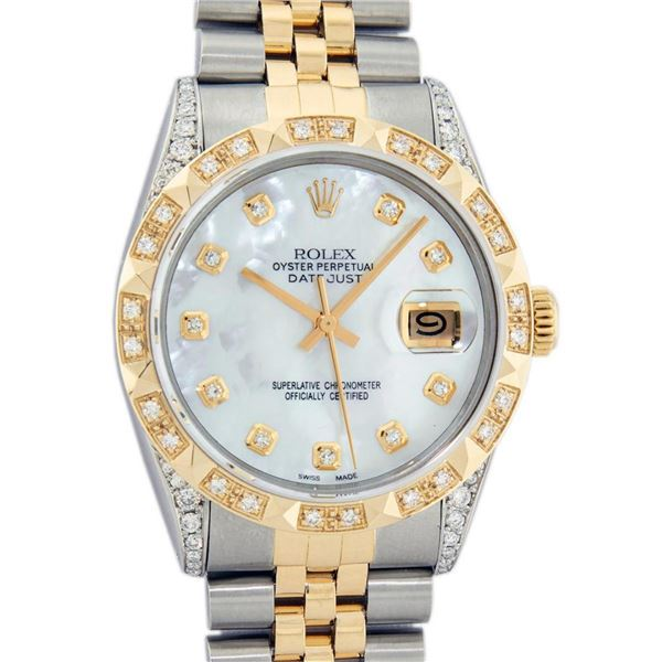 Rolex Mens 2 Tone Lugs MOP Diamond Pyramid Diamond 36MM Datejust