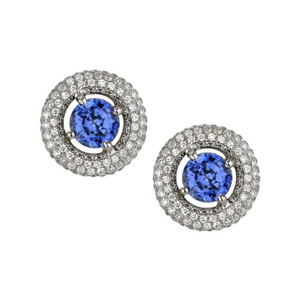 18k White Gold 3.50 ctw Diamond and Blue Sapphire Earrings, (VS1-VS2/G-H)