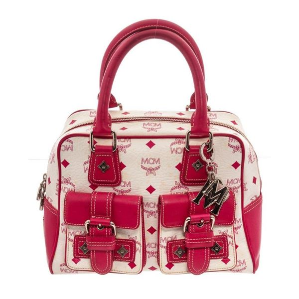 MCM Pink  White Visetos Coated Canvas  Leather Satchel Bag