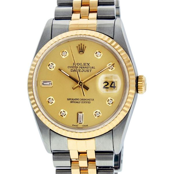 Rolex Mens 2 Tone Champagne Diamond 36MM Datejust Wristwatch