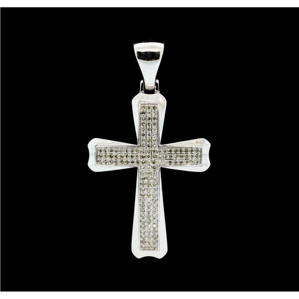 0.75 ctw Diamond Cross Pendant - 10KT White Gold