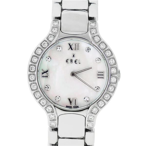 Ebel Beluga Ladies Stainless Steel MOP Diamond Watch 27mm Wristwatch