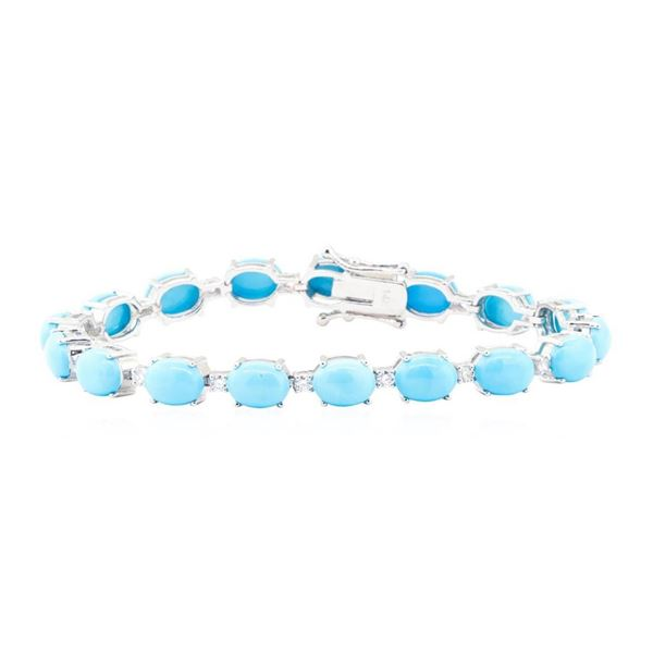 20.36 ctw Turquoise And Diamond Bracelet - 14KT White Gold