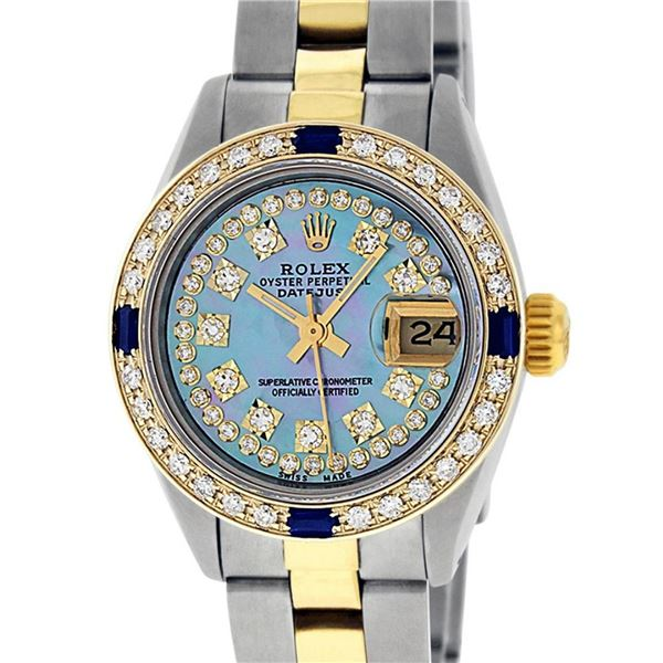 Rolex Ladies 2 Tone 18K Gold Bezel Blue String Diamond & Sapphire Datejust Wrisw