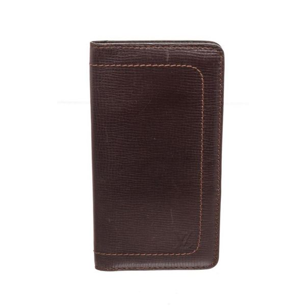 Louis Vuitton Utah Brown Leather Long Card Wallet