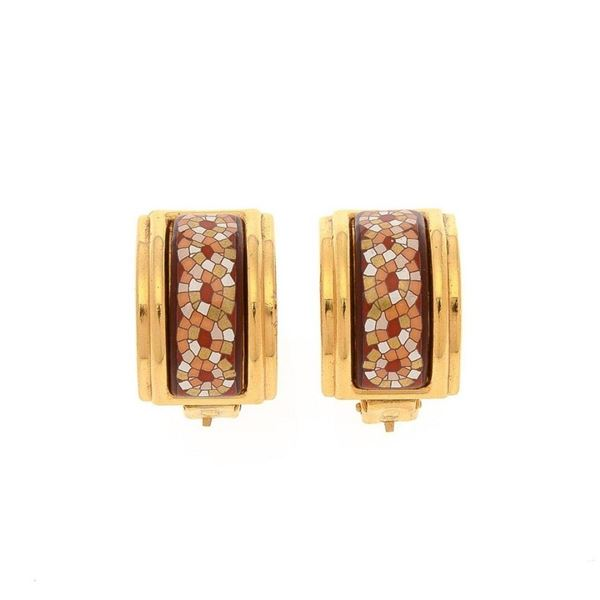Hermes Multi Enamel Clip-on Earrings