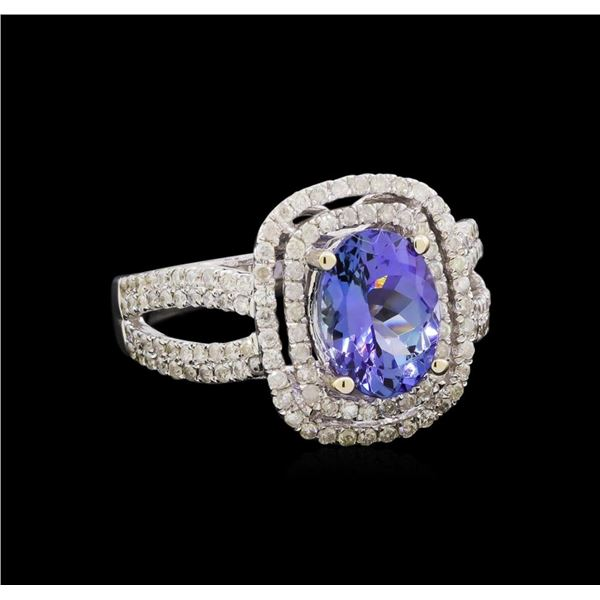14KT White Gold 2.37 ctw Tanzanite and Diamond Ring