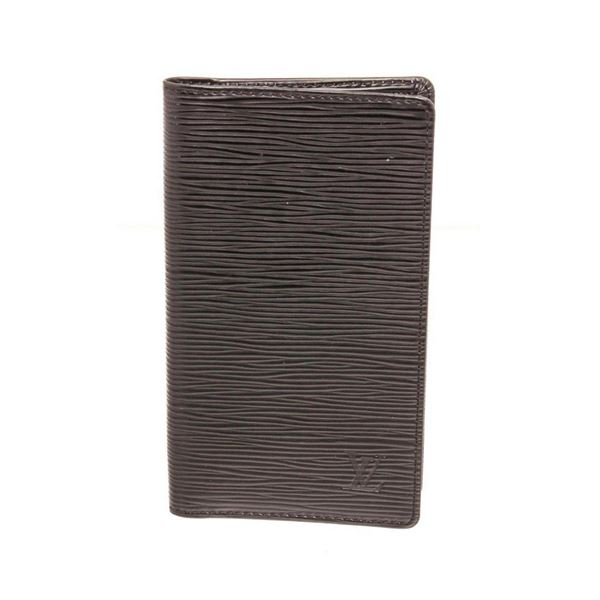 Louis Vuitton Black Epi Leather Long Checkbook Card Bifold Wallet