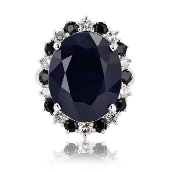 18.60 ctw Dark Blue Sapphire and 0.83 ctw Diamond 14K White Gold Ring