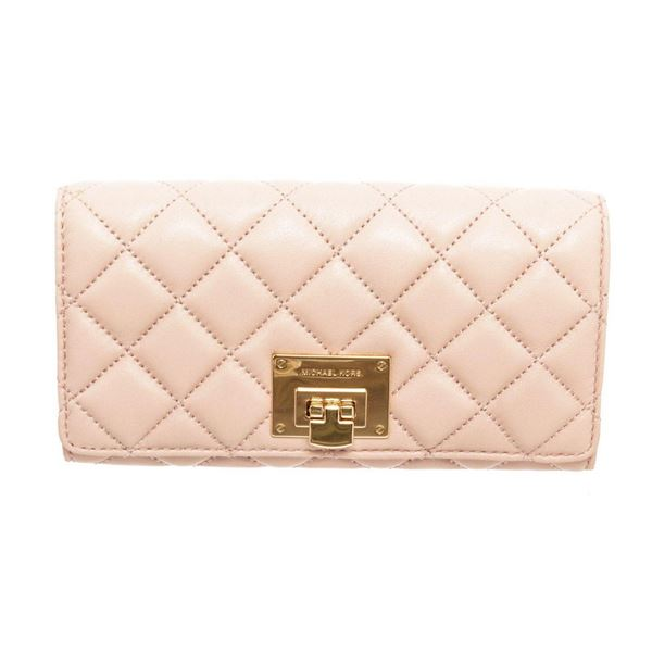 Michael Kors Beige Astrid Leather Flap Lock Wallet