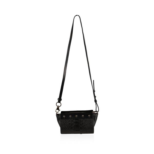 Designer Alexander Wang Convertible Black Python Pelican Sling Bag