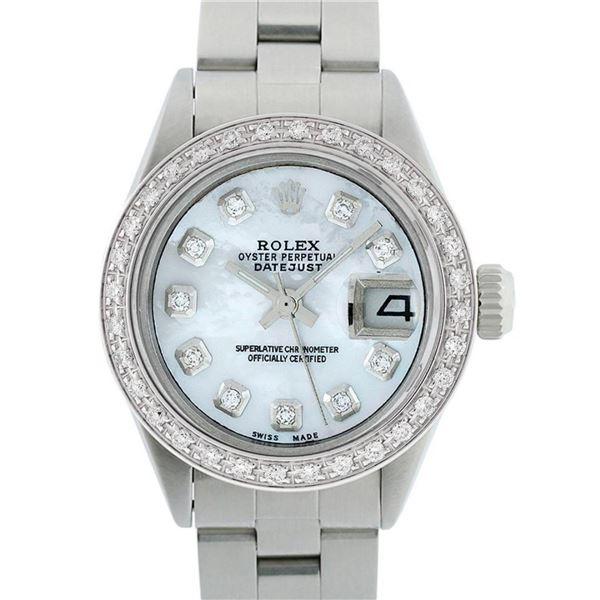 Rolex Ladies Stainless Steel MOP Diamond 18K Gold Bezel 26MM Datejust Wristwatch