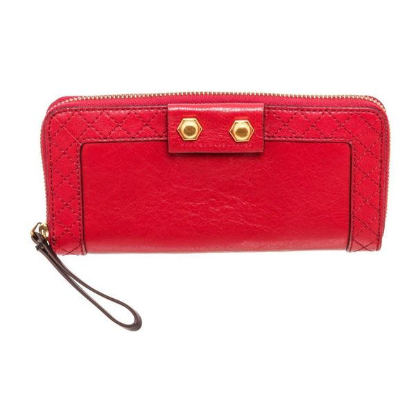 Marc By Marc Jacobs Red Leather Zippy Wallet