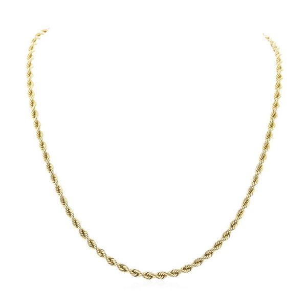 Twenty Four Inch Rope Chain - 14KT Yellow Gold