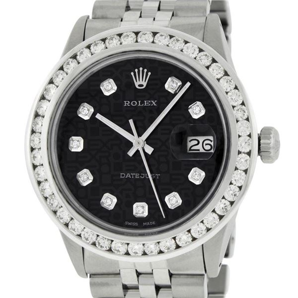 Rolex Mens Stainless Steel Black Jubilee 3 ctw Diamond Datejust Wristwatch 36MM