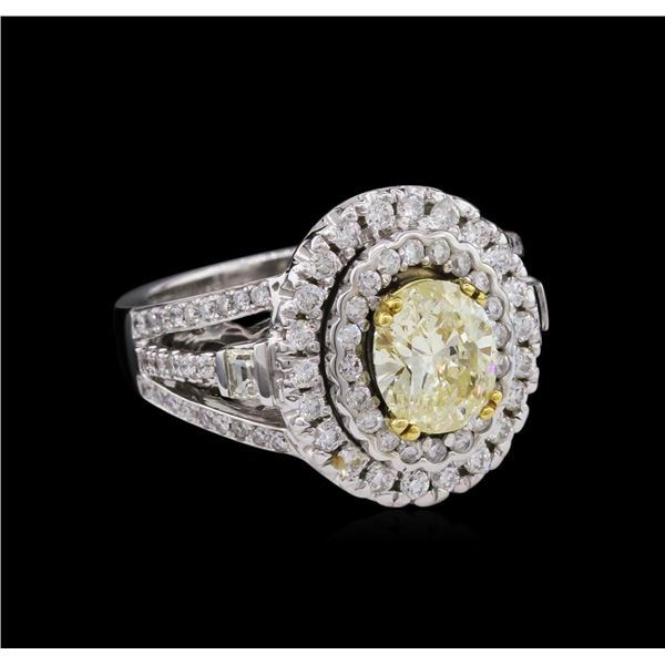 14KT White Gold 1.24 ctw I-1/Light Yellow GIA Cert Diamond Ring