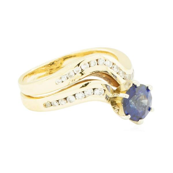 1.85 ctw Blue Sapphire and Diamond Ring - 14KT Yellow Gold