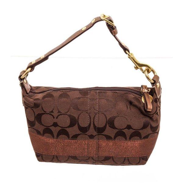 Coach Brown Jacquard Canvas Petite Legacy Shoulder Bag