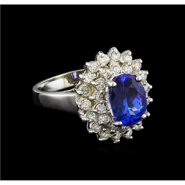 2.13 ctw Tanzanite and Diamond Ring - 14KT White Gold