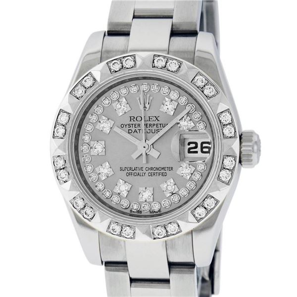 Rolex Ladies New Style Quickset Datejust Silver String Diamond Pyramid Oyster Pe