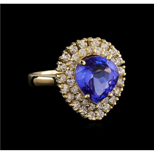 3.62 ctw Tanzanite and Diamond Ring - 14KT Yellow Gold