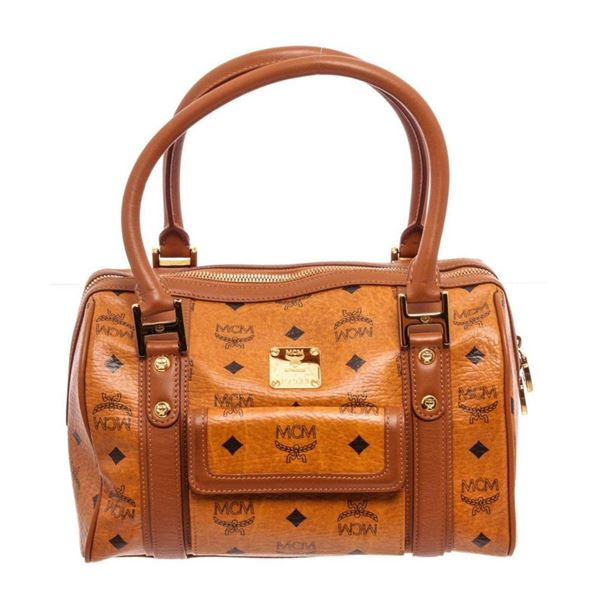 MCM Cognac Mini Shopper Tote Bag
