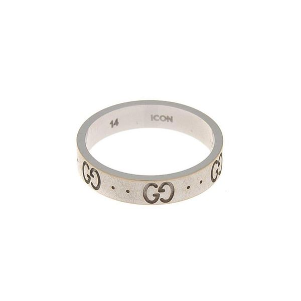 Gucci White Gold Icon Ring US 6.5/It