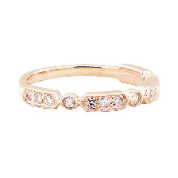 0.25 ctw Diamond Straight Line Station Ring with Milgrain Detailing - 14KT Rose