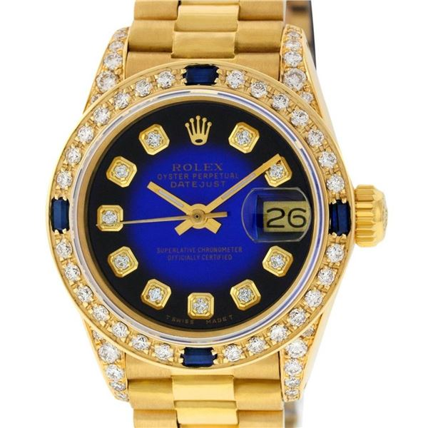 Rolex Ladies 18K Yellow Gold Blue Vignette Diamond And Sapphire President Wristw