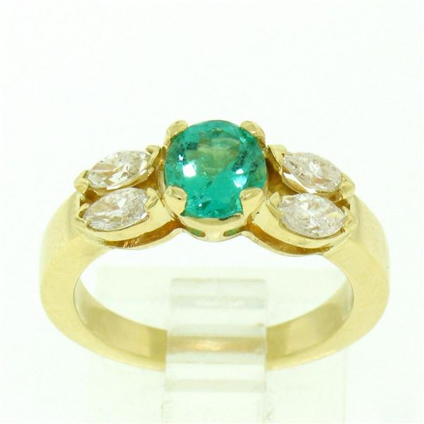 18kt Yellow Gold 1.73 ctw Round Emerald and Marquise Diamond Ring