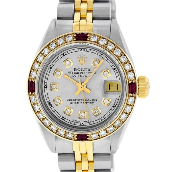 Rolex Ladies 2 Tone Grey Diamond & Ruby 26MM Datejust Wristwatch