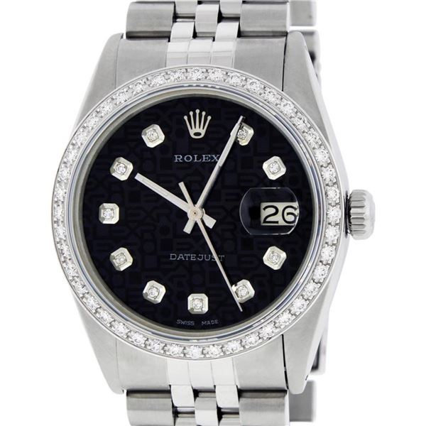 Rolex Mens Stainless Steel Black Diamond 36MM Oyster Perpetaul Datejust