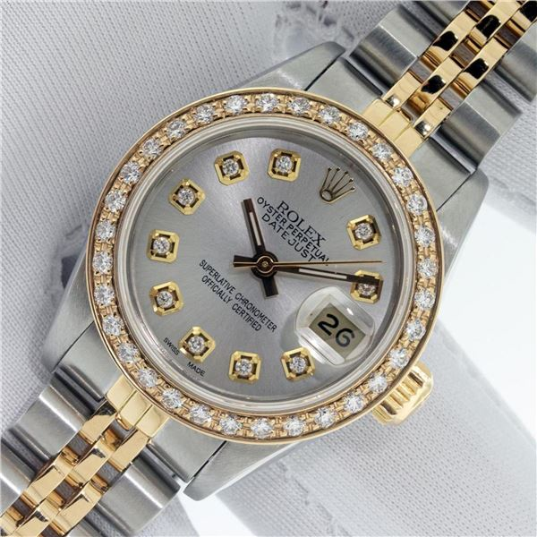 Rolex Ladies 2 Tone Silver Diamond Datejust Wristwatch With Rolex Box
