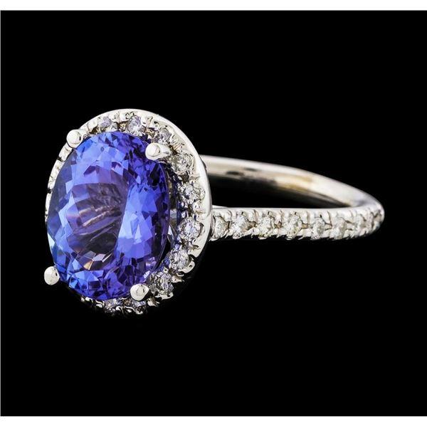 3.80 ctw Tanzanite and Diamond Ring - 14KT White Gold