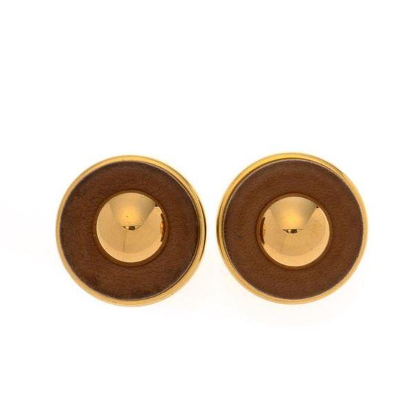 Hermes Gold Leather Clip-on Earrings