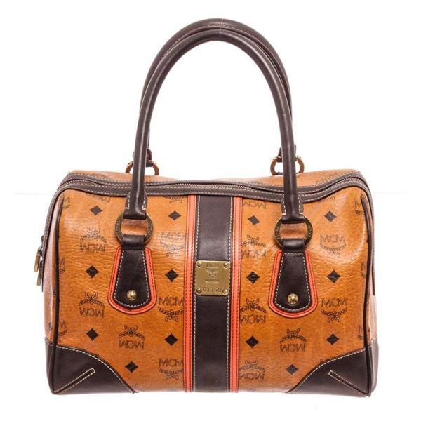 MCM Cognac Visetos Coated Canvas Tote Bag