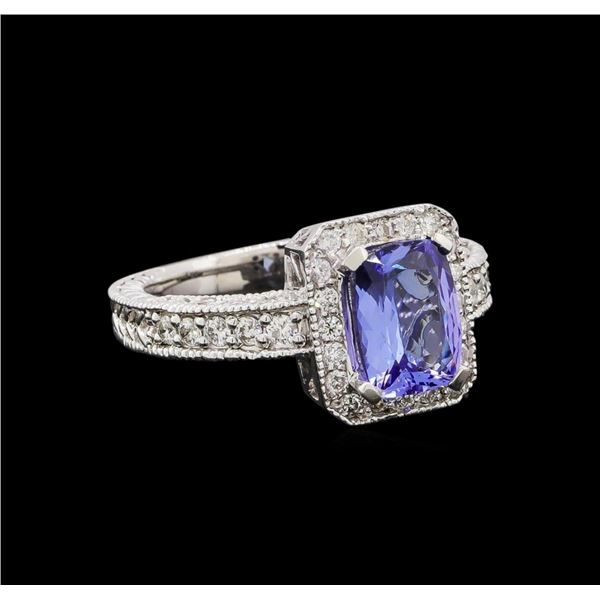 14KT White Gold 1.54 ctw Tanzanite and Diamond Ring