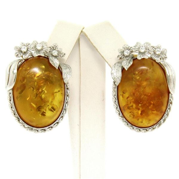 Vintage 18k White Gold Large Oval Amber Diamond Omega Earrings w/ Flower Etching