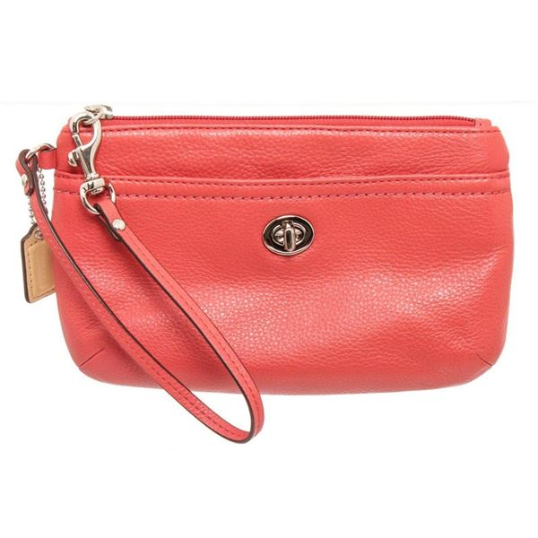 Coach Pink Park Leather Turnlock Wristlet Clutch
