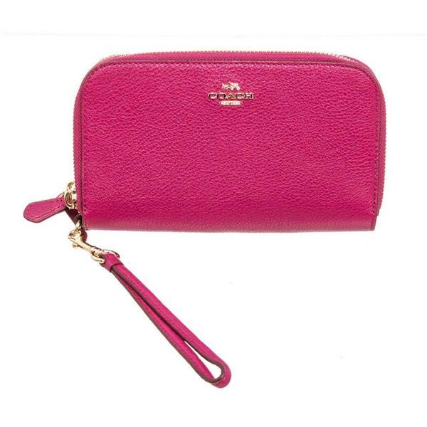 Coach Pink Pebbled Leather Double Zip Wristlet Wallet