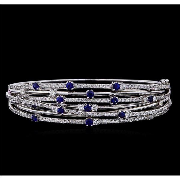 1.35 ctw Sapphire and Diamond Bracelet - 14KT White Gold