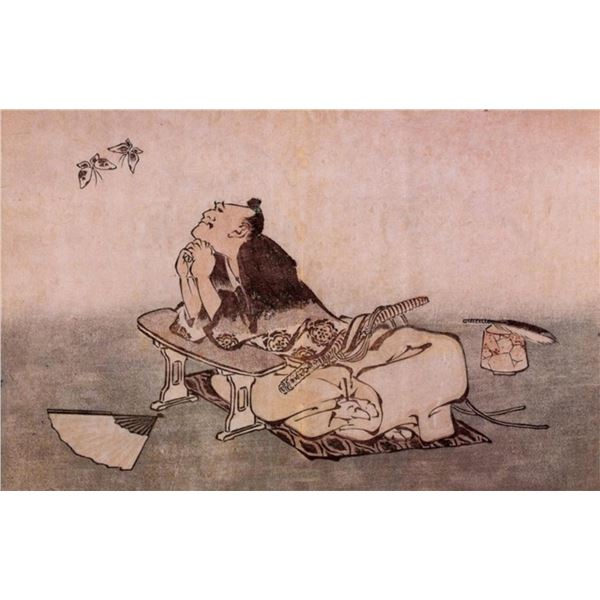 Hokusai - A Philospher looking at Two Butterflies
