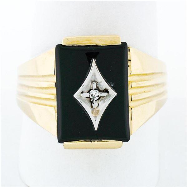 Men's Vintage 14K TT Gold Rectangular Black Onyx & Diamond Ribbed Grooved Ring