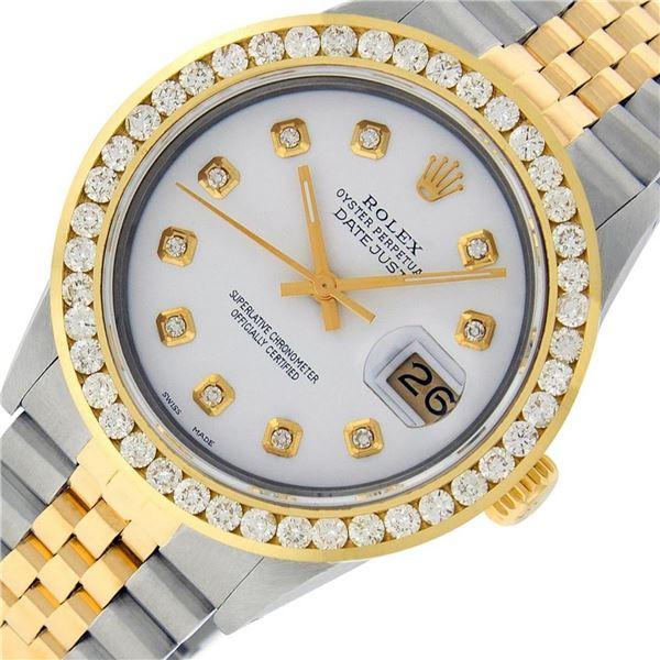 Rolex Mens 2 Tone White Diamond 3 ctw Channel Set Datejust Wriswatch