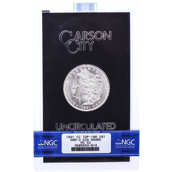1891-CC VAM-3 $1 Morgan Silver Dollar Coin GSA Hoard  NGC MS62 with Box & COA