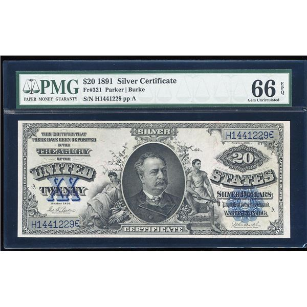 1891 $20 'Manning' Silver Certificate Note Fr.321 PMG Gem Uncirculated 66EPQ