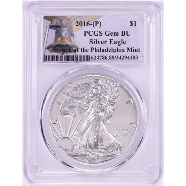 2016-P $1 American Silver Eagle Coin PCGS Gem BU Struck at the Philadelphia Mint