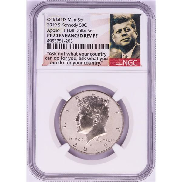 2019-S Reverse Proof Kennedy Half Dollar Coin NGC PF70 Enhanced Rev PF
